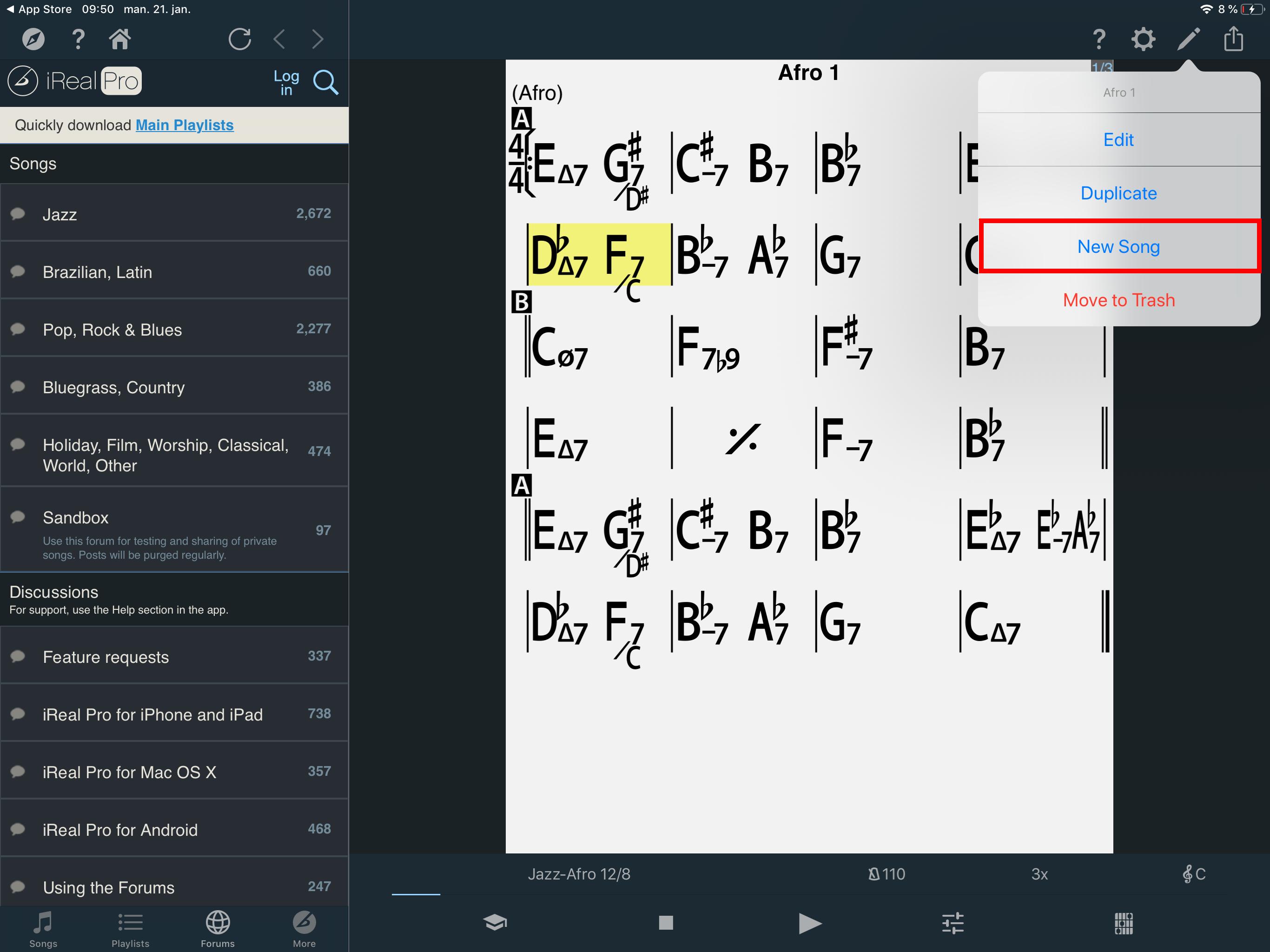 En screengrab fra appen iReal Pro til IOS, knapp for ny fil er framhevet
