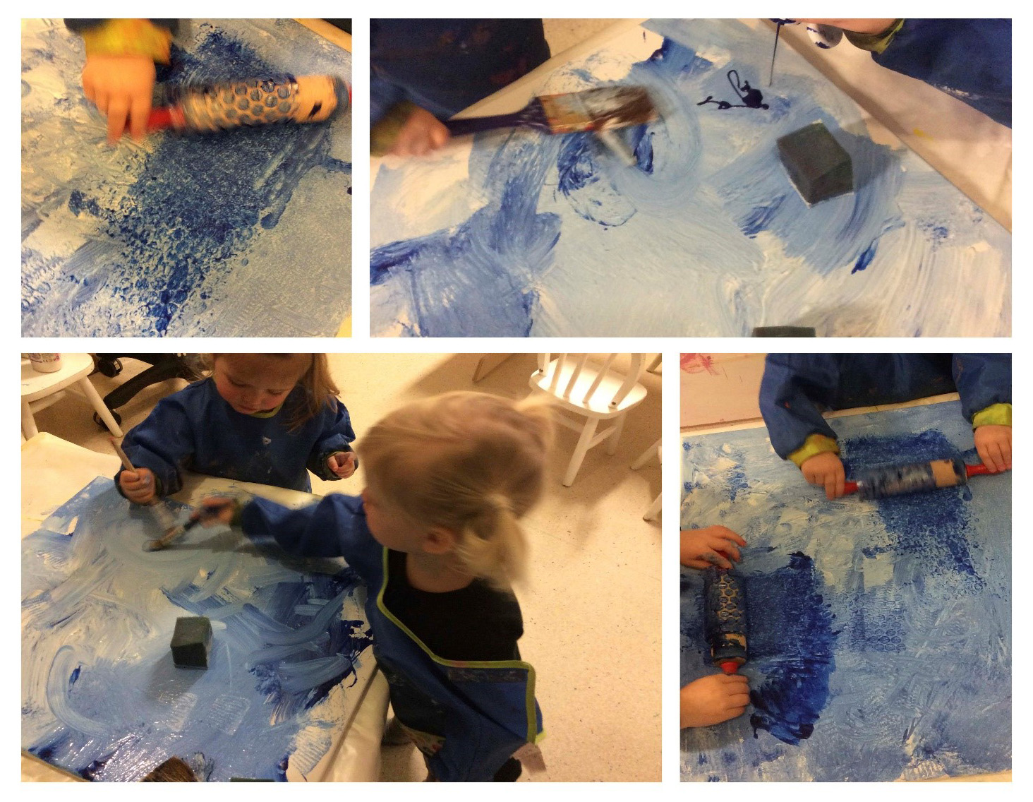 Barn maler med blå maling oppå bobleplast