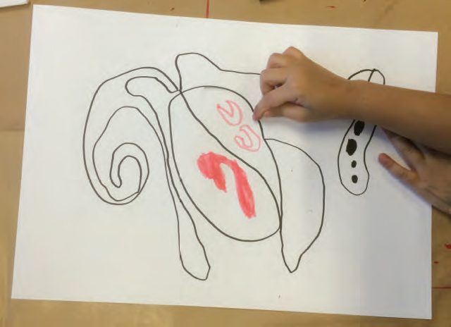 Barnetegning av en lunge
