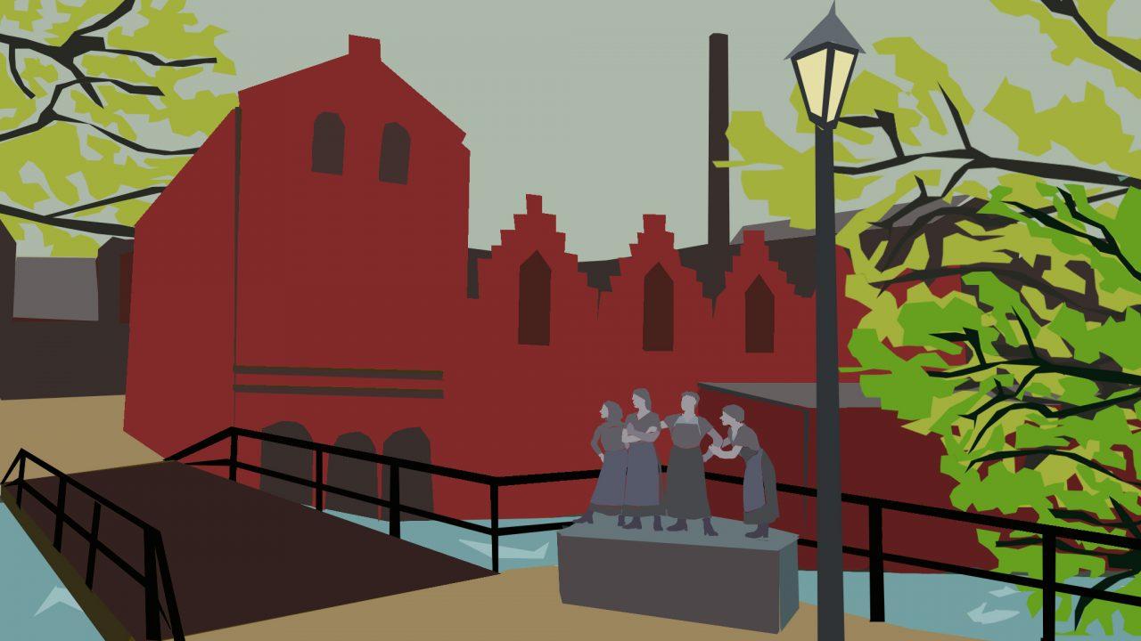 Grafisk illustrasjon av en bro med fire kvinner og et murhus i bakgrunnen.
