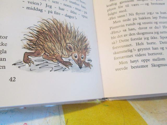 Tegning av pinnsvin hentet fra bok.
