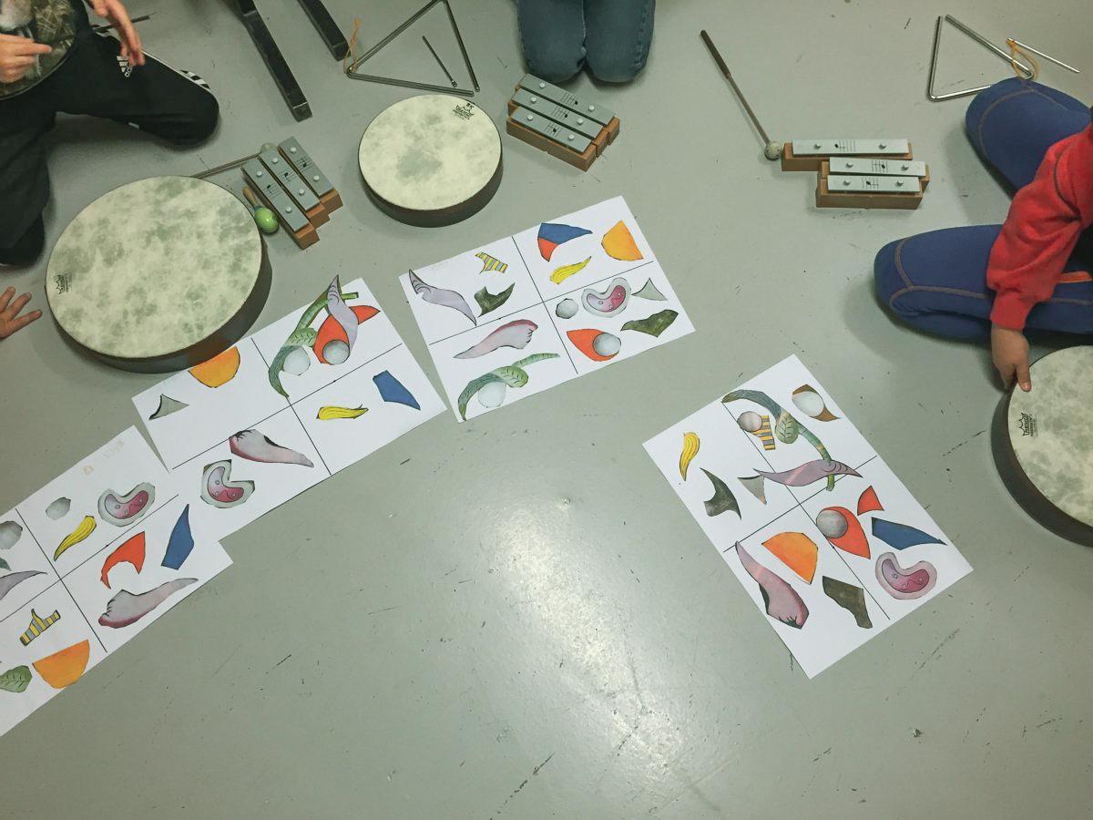 Grafisk notasjon liggende på gulv med diverse perkusjonsinstrumenter rundt.