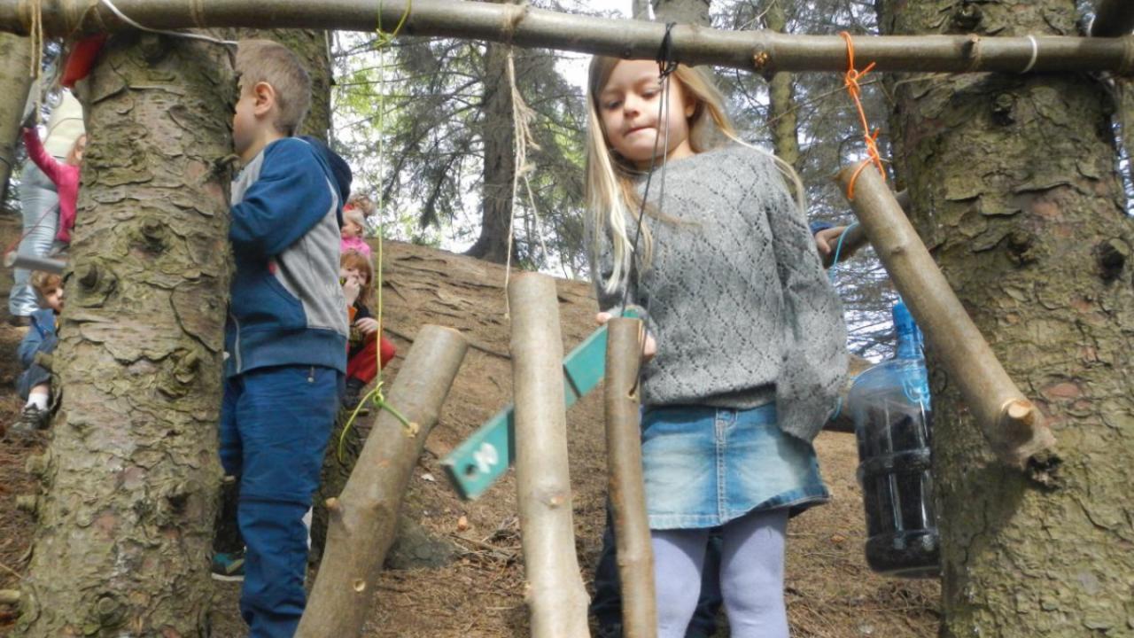 Barn spiller på trepinner i skogen.