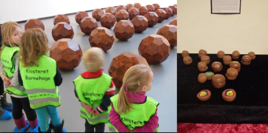Barna studerer kunst og lager sin egen versjon av kunsten.