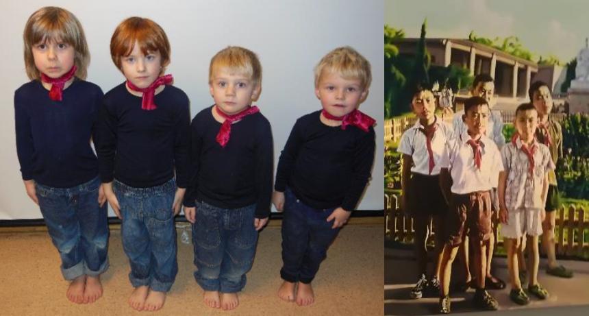 Sammenligning av bilder, barna poserer som på kunstverket.