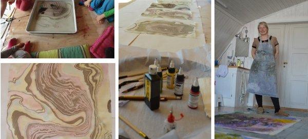 Kunstneren Eva bakkeslett har workshop med barnehagebarn.