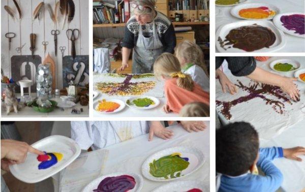 Kollasje av bilder fra barnehage på besøk hos kunstner. Barn maler med hendene.