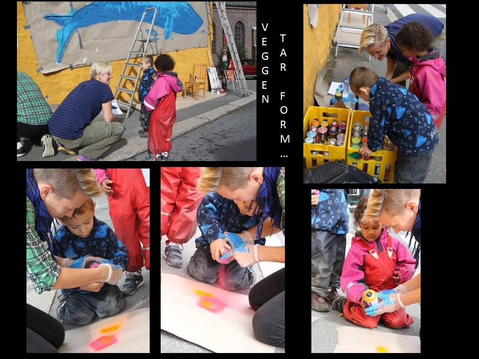 Kollasje av bilder fra barnas kreative prosess.