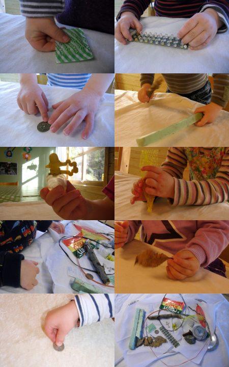 Detaljbilder satt sammen i kollasje. Barn som utforsker materialer.