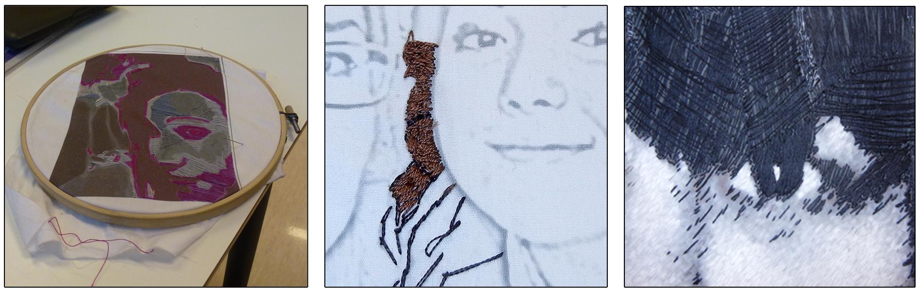 Broderramme med oppspendt stoff og motiv. Detaljer av brodert ansikt.