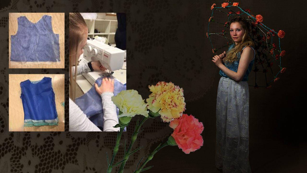 Elev i romantisk egenkomposnert brudekjole. To foto fra elevens prosess som viser mønsterdeler og søm av kjole.
