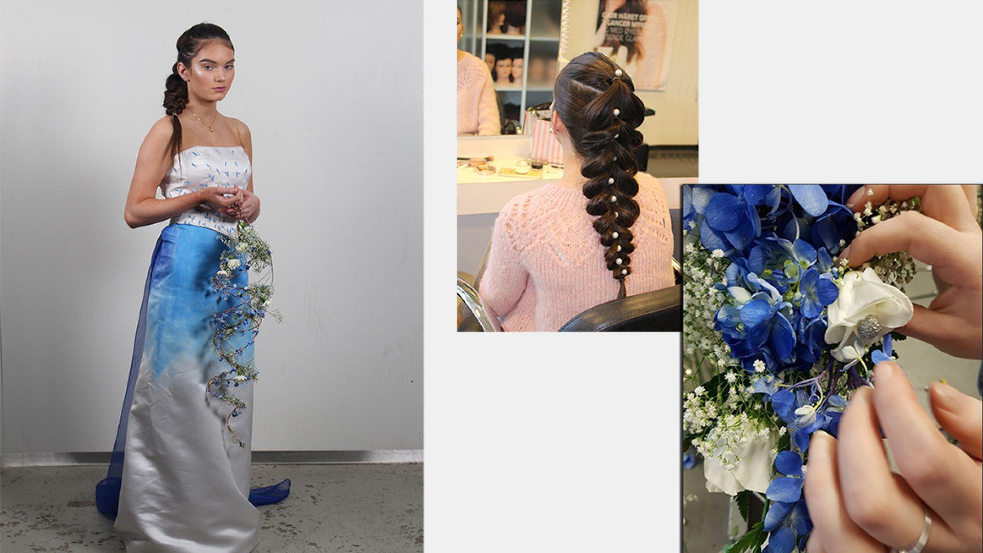 Elev i selvkomponert hvior kjole med blå dekoreffekter. Flettet hårfrisyre med perler. Hengende brudebuketti blå nyanser.