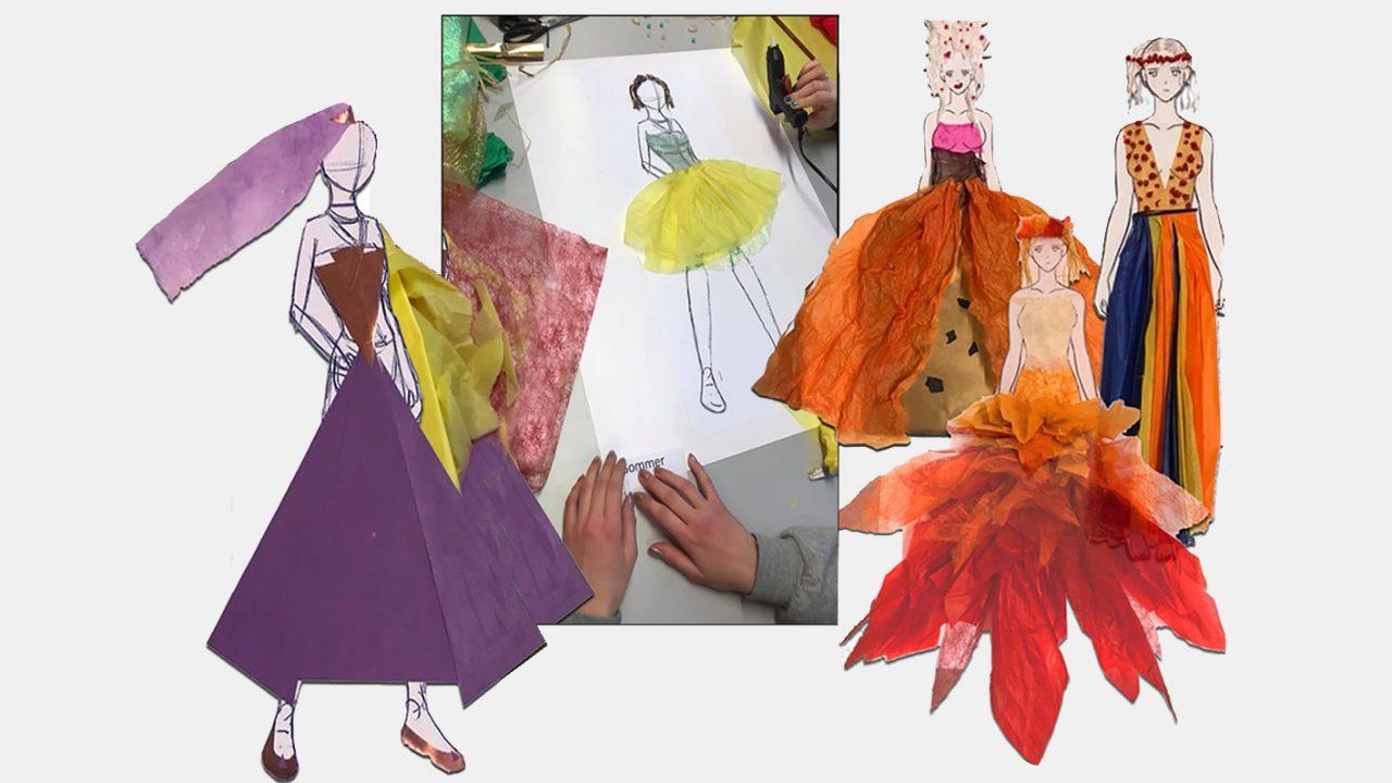Fargerike skisser i collageteknikk.