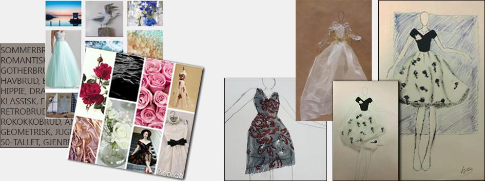 Ulike ideskisser på bryllupsantrekk i silkepapir og kritt, samt collager.