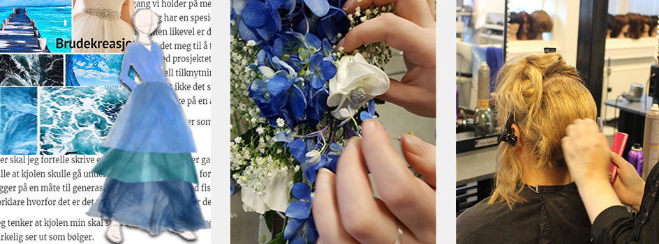 Collage i blåtoner. Ideskisse i blåtoner. Brudebukett i blåtomner. Frisyre under utvikling.