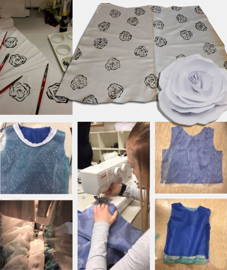 Ulike faser i produksjon av bryllupskreasjon: Utforming av dekordetaljer, mønsterdeler, symaskinsøm.