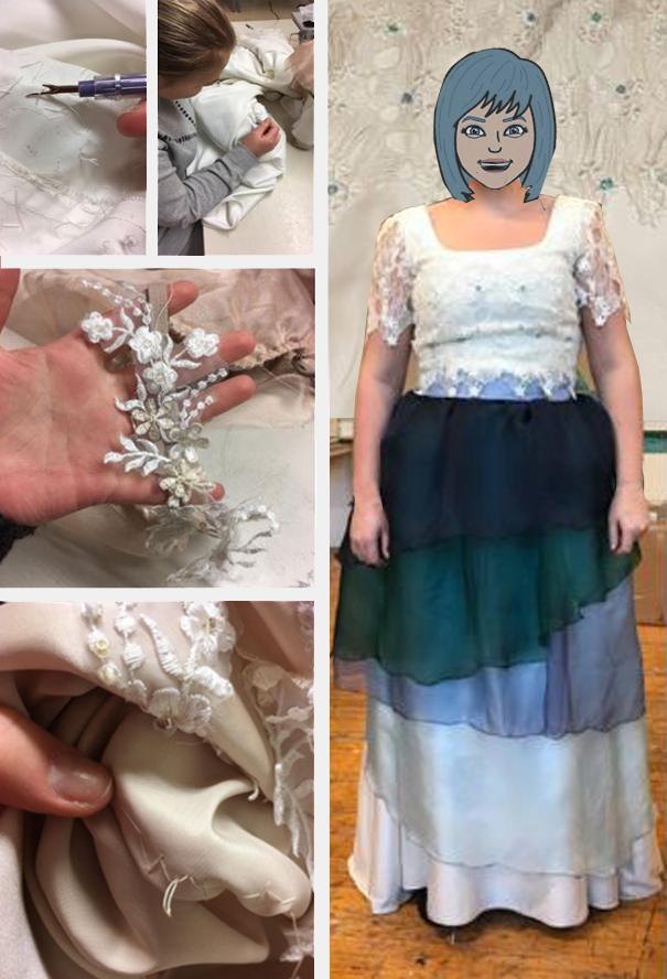 Fem foto som viser detaljer av sømprosessen, samt elev i egendesignet kjole.