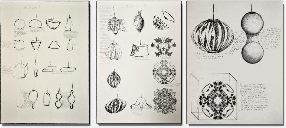 Mange små blyantskisser, ideskisser, på ulike lysobjekt.