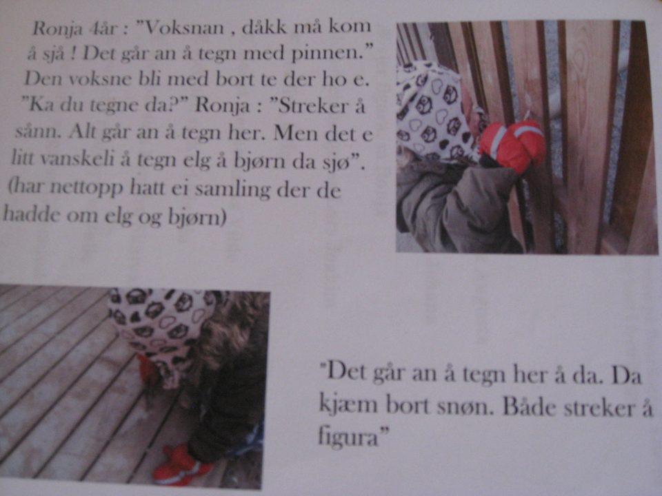 Dokumentasjon av arbeidet i barnehagen med bilder av barna og tekst.