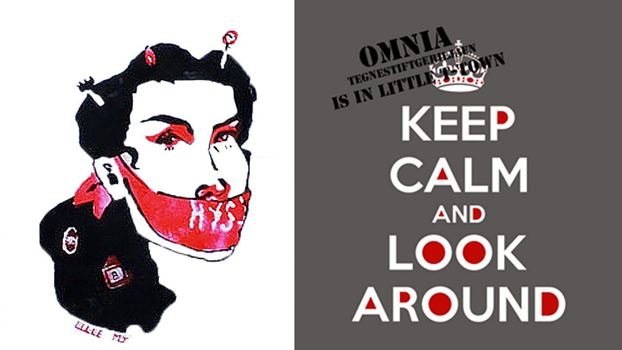 Grafitti, elevarbeid: Jentehode med bind forran munnen der det står HYSJ, samt plakat for tegnestiftgeriljaen OMNIA