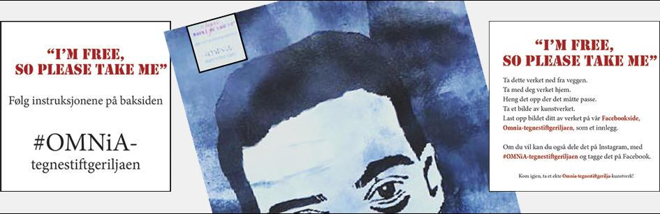 Plakater med verbale oppfordringer til publikum om å ta elevtrykkene eller grafittien med hjem., samt eksempel på grafitti, elevarbeid.
