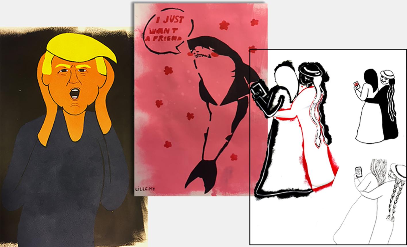 Tre verk under arbeid: Ett av president Bush, ett med en hai og ett inspirert av Munchs Pikene på broen.