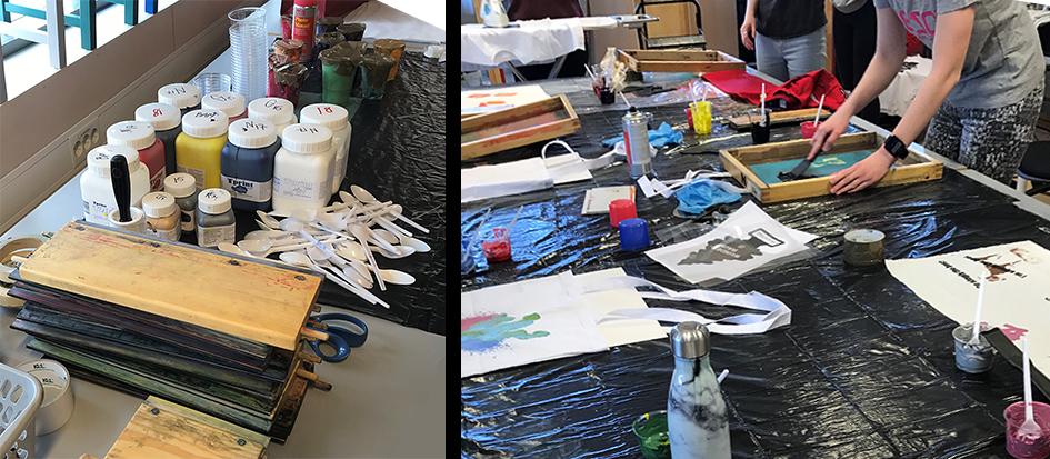 Utstyr til silketrykk og elever i arbeid med sine rammer.