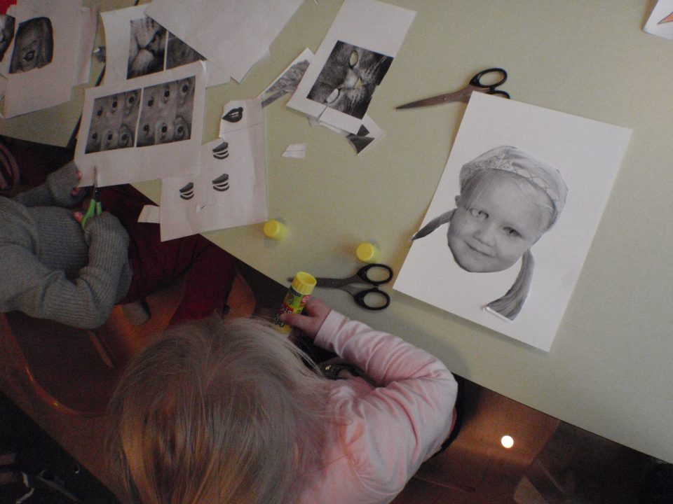 Barn lager collage av eget fotografi.