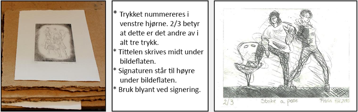 Grafiske trykk ligger i press. Et utdrag fra Etiske retningslinjer for originalgrafikk, Norske grafikere. Ferdig dyptrykk.