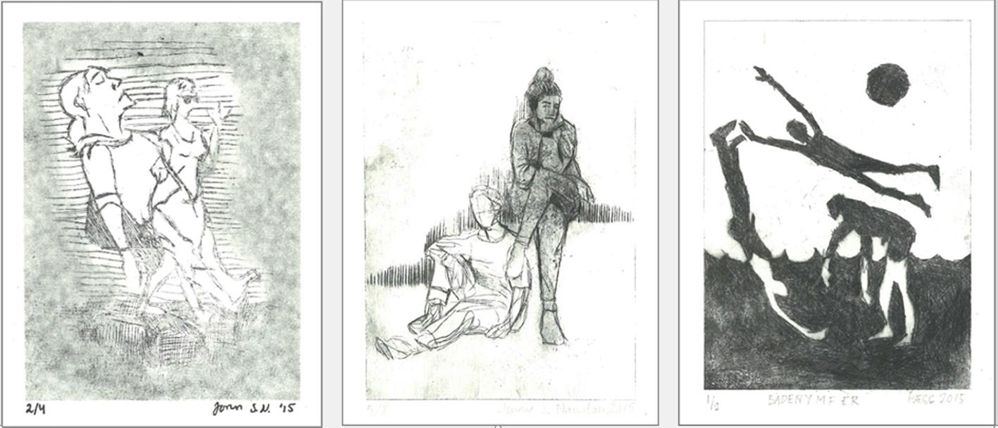 Tre dyptrykk, elevarbeider, med menneskekroppen som motiv.