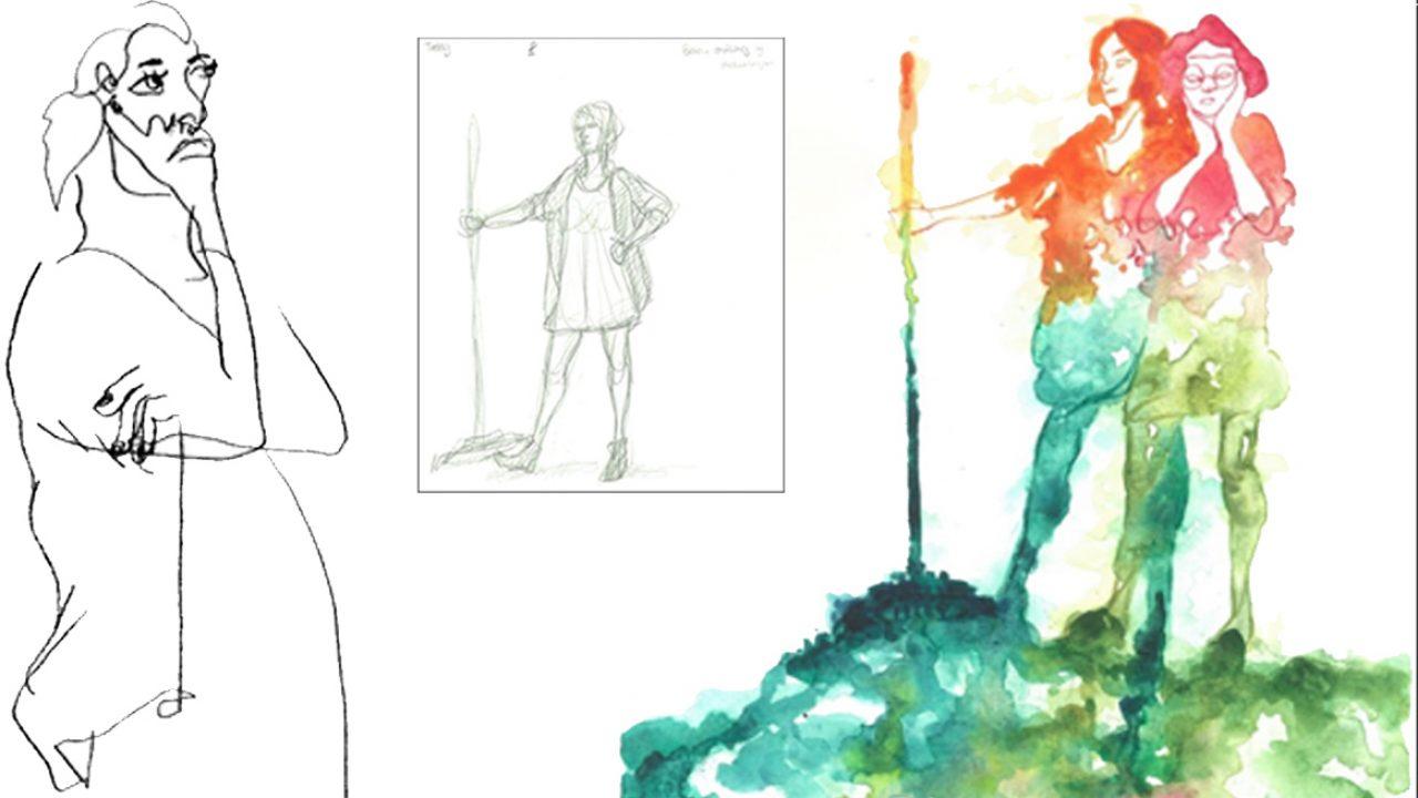 Sort/hvitt trykk der linjen forklarer motivet: En kvinneskikkelse. Akvarell av to kvinneskikkelser.