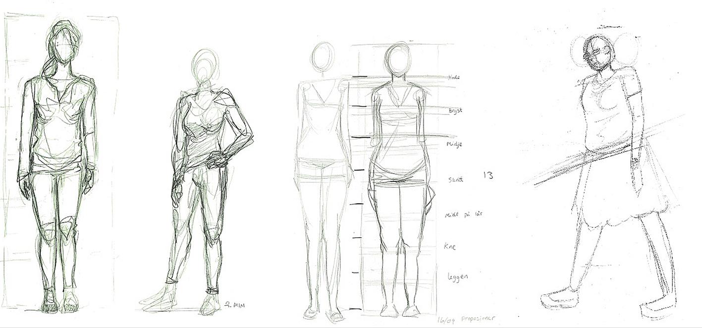 Krokitegninger av menneskekroppen med vekt på riktige proporsjoner.