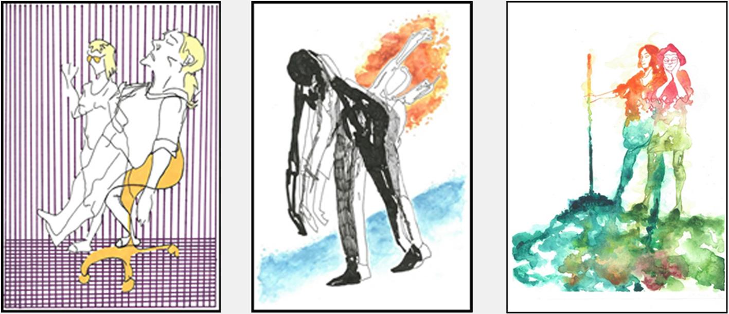 Tre elevarbeider. Ulike uttrykk med fokus på komposisjon og farge.
