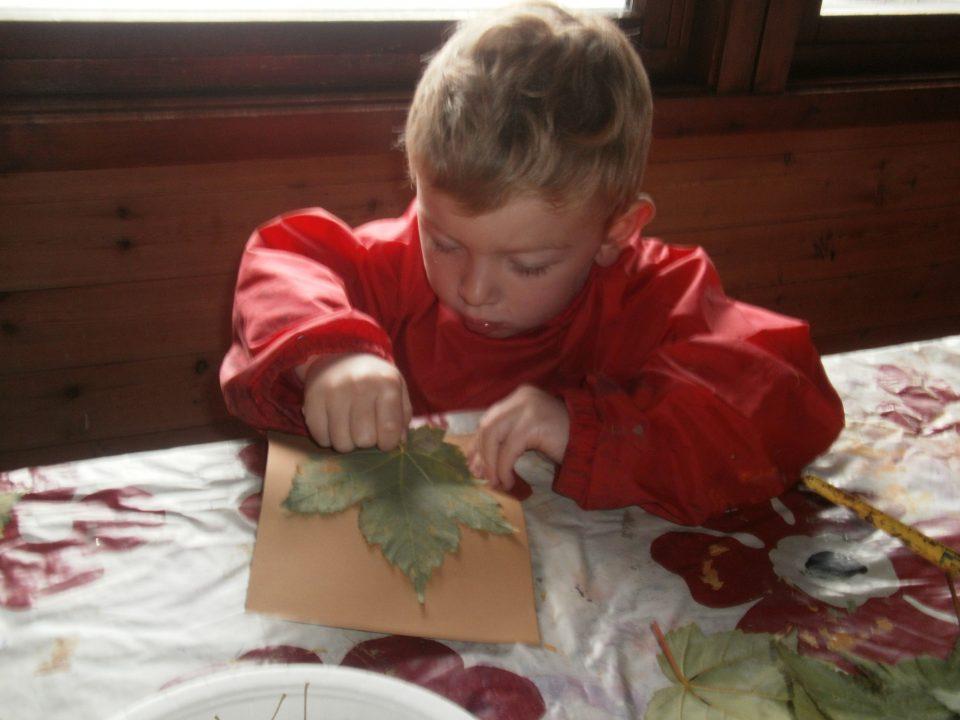 Gutt maler holder lønnetreblad i hånden.