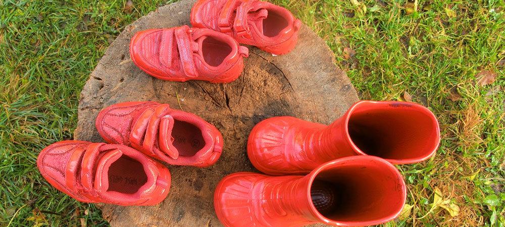 Røde sko og støvler står på en stubbe.