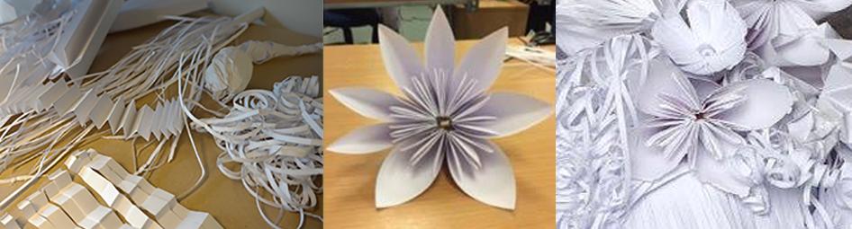 Utprøvinger i hvitt papir: Bretting, krølling, klippe i strimler, forme som blomster.