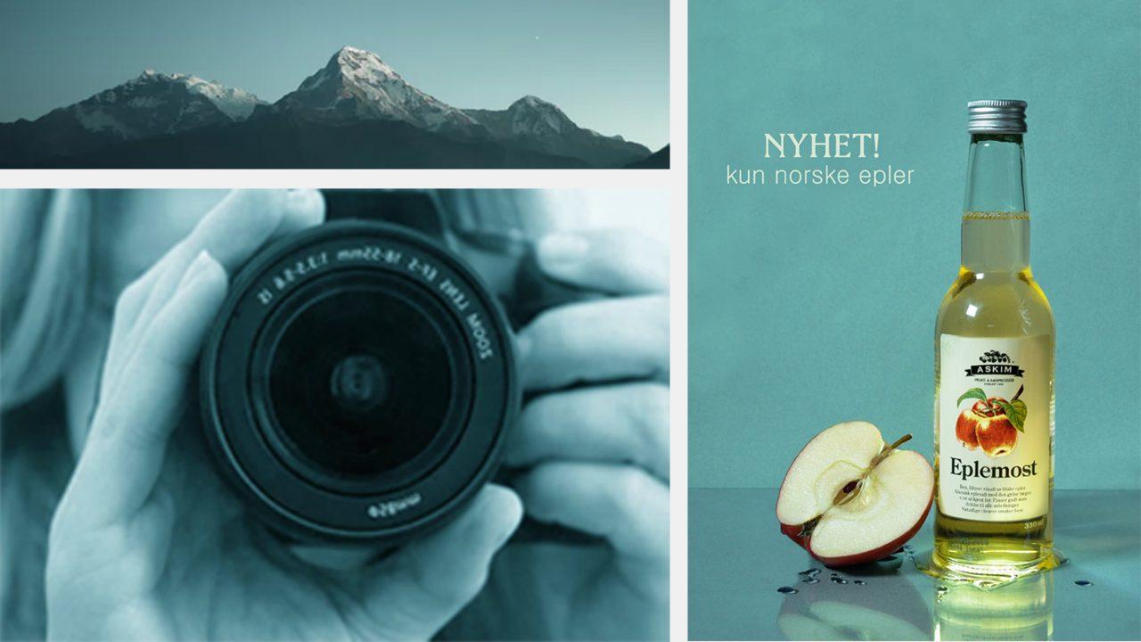 Fjellandskap, kameraobjektiv og elevarbeid: annonse for eplemost
