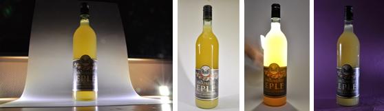 Bruk av ulike lyskilder og bakgrunner ved fotografering av flaske