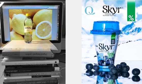 Flaske stilt opp for fotografering foran datamaskin, samt ferdig produktannonse for Skyr