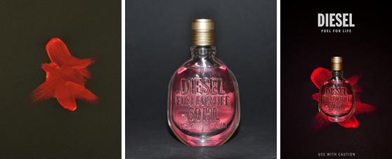Malt rød flekk på sort kartong, foto av parfymeflaske og redigert resultat i Photoshop