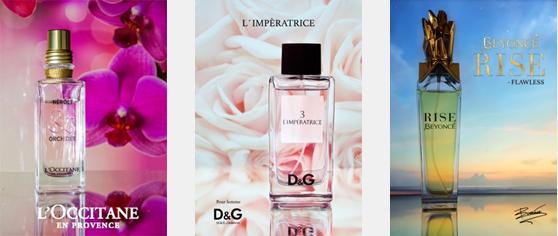 Tre ulike eksempler på produktannonser for parfyme. Elevarbeider, Glemmen videregående skole