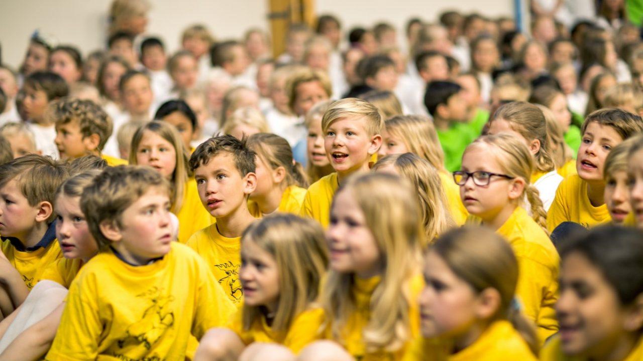 Bilde av barn i gule trøyer.