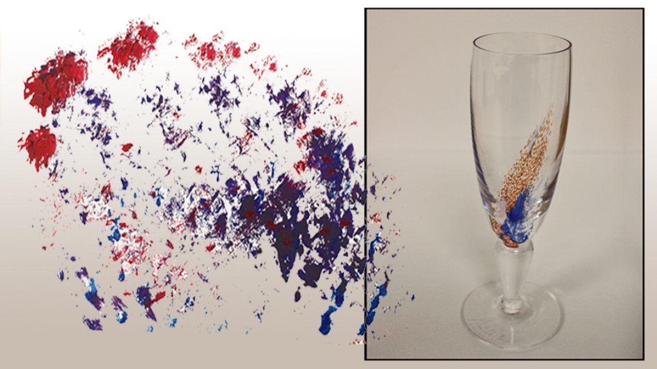 Abstrakte malingsflekker i rødt og blått. Vinglass med dekor i rød og blå flekker.