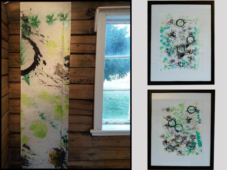 Fototapet av abstrakt maleri, elevarbeid. To abstrakte malerier med sirkelformer.