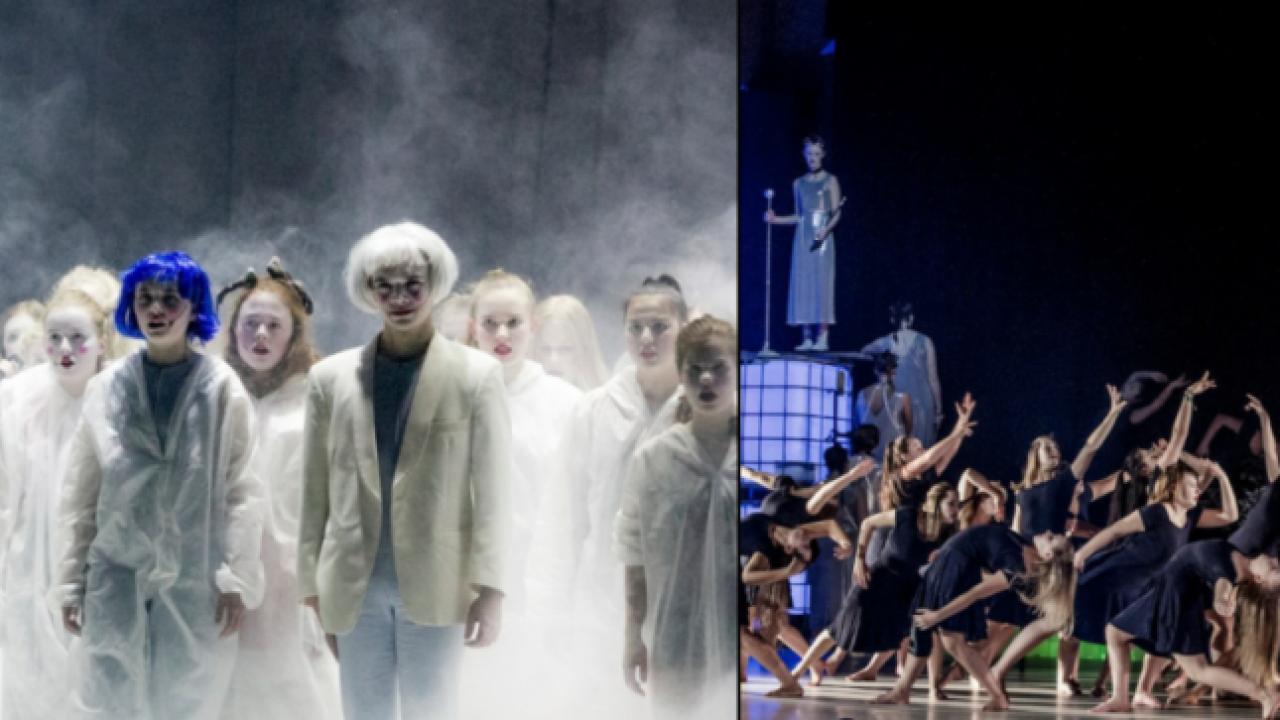 To bilder fra en scenisk oppsetning med syngene og dansende barn.