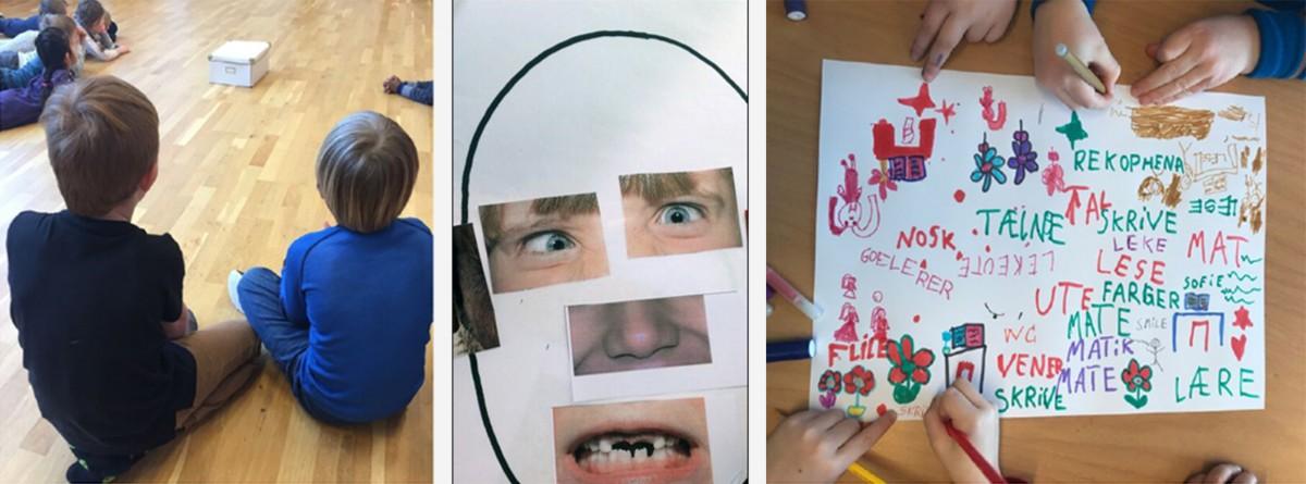 Elever som jobber på golvet, skrive, tegne
