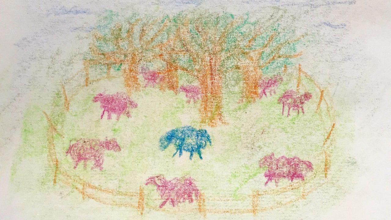 Tegning av et jorde med trær og sauer med gjerde rundt