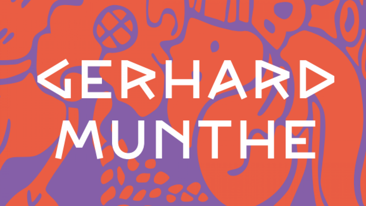 Rødt og lilla mønster. Gerhard Munthe i hvite bokstaver.