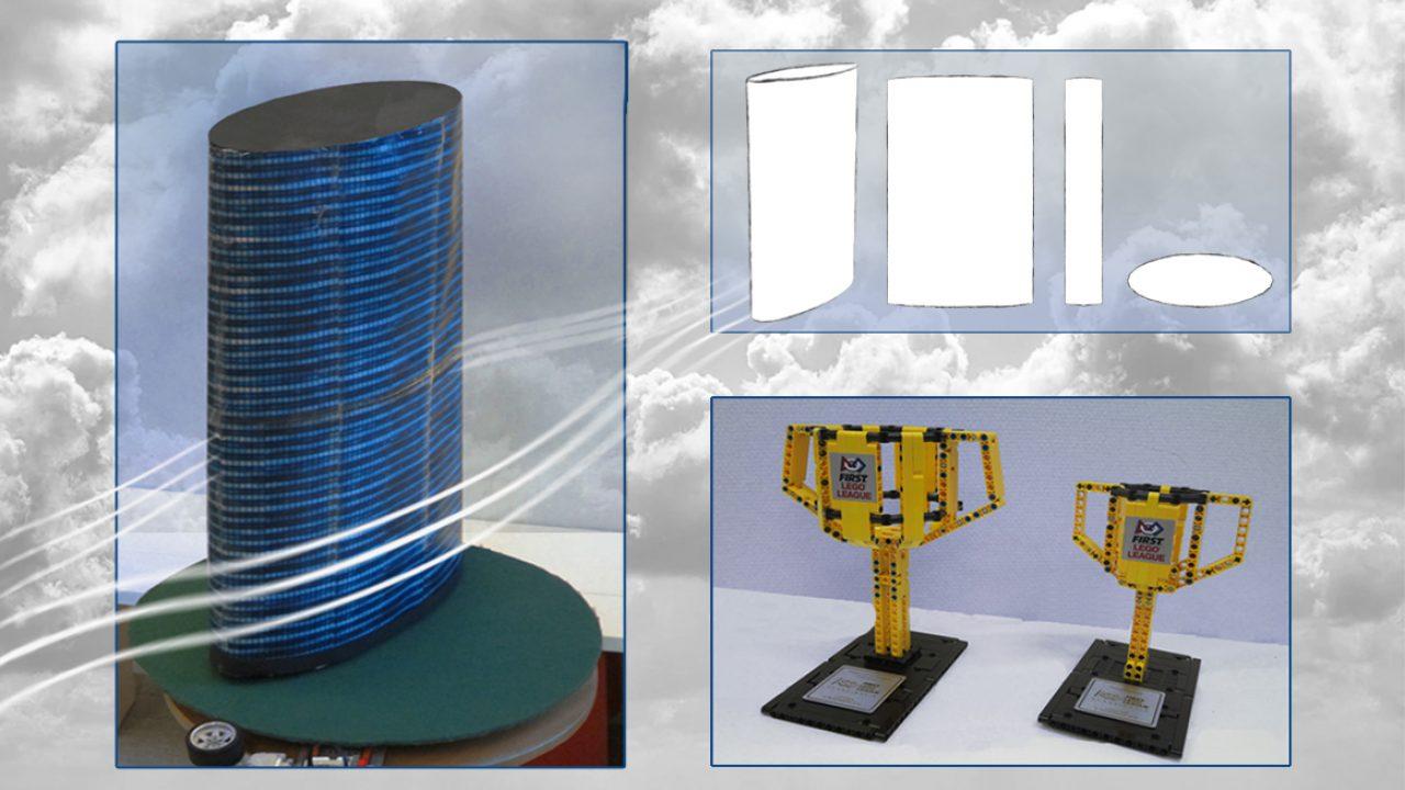Modell av skyskraper og pokaler bygget av lego.