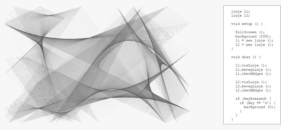 Form som resultat av tekstbasert koding i Processinge